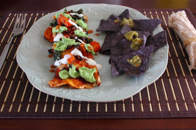 Granola-cereal-urban hippie-Sweet Potato and Black Bean Enchilada with Cilantro Avocado Sauce-recipe