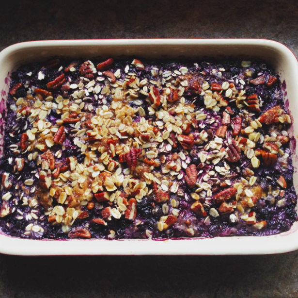 Granola-cereal-oatmeal-bake-urban hippie-wild blueberry and toasted pecan oatmeal-recipe