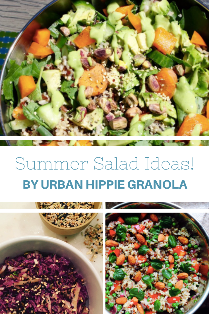 Summer salad ideas with images of three different kinds of salads: Green Goddess Salad, Seven Seed Slaw & Sweet Chile Quinoa and Wild Rice Salad